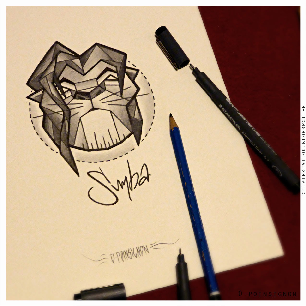 dessin-portrait-simba-roi-lion-france-paris-olivier-poinsignon-tatouage-illustration-géométrié