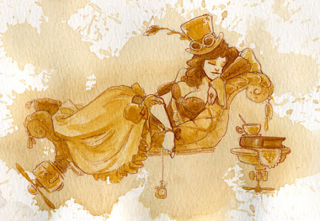 pinturas-estilo-Steampunk-creadas-con-Te-y-acuarela-brian-kesinger