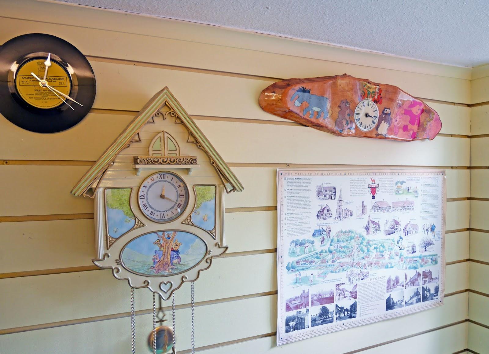Winnie the Pooh clocks at Piglet's Tearoom, Ashdown Forest
