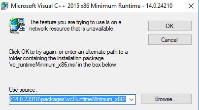 Microsoft visual c++ 2015 minimum required unavailable