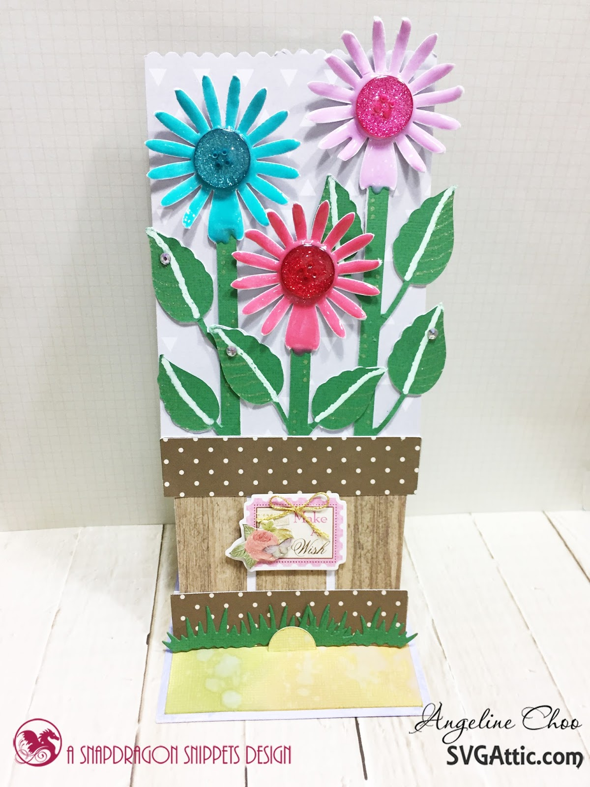 Easel Flower Card With Svg Attic Scrappy Scrappy