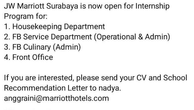 lowongan kerja JW Marriott surabaya