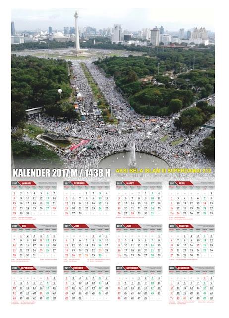 Download Kalender 2017 Berlatar Foto Aksi Bela Islam Super Damai 212