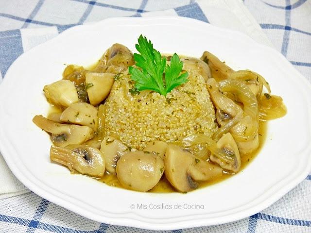 receta champiñones con quinoa