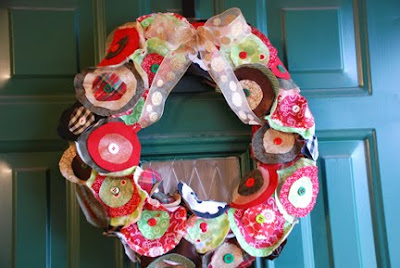 Christmas wreath fabric circles