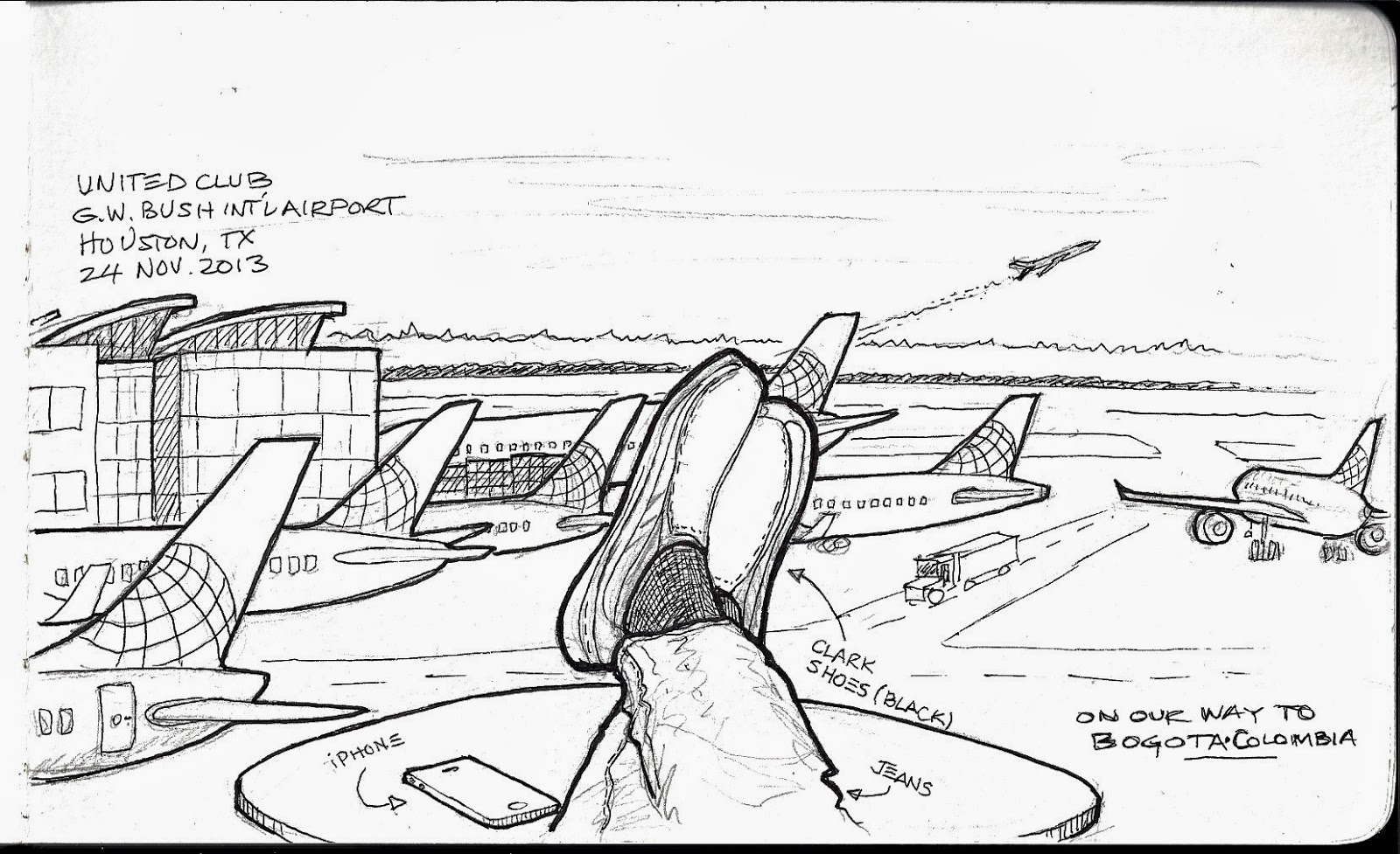 Unstringing the Bow: Waiting at the airport. Time to Sketch