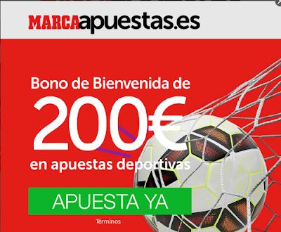 Marca apuestas nuevo bono bienvenida 200 euros