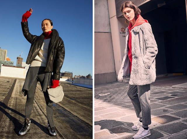 Девушки в серой куртке и пальто с красной водолазкой