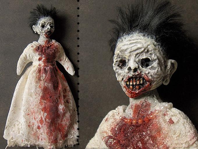 horrorosa,boneca,pano,caveira,preto,rock,gotico,art,feia,sangue