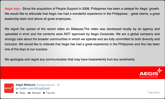Aegis Malaysia Apologized about the Advertisement Video Entitled 'Malaysia is Better than the Philippines'