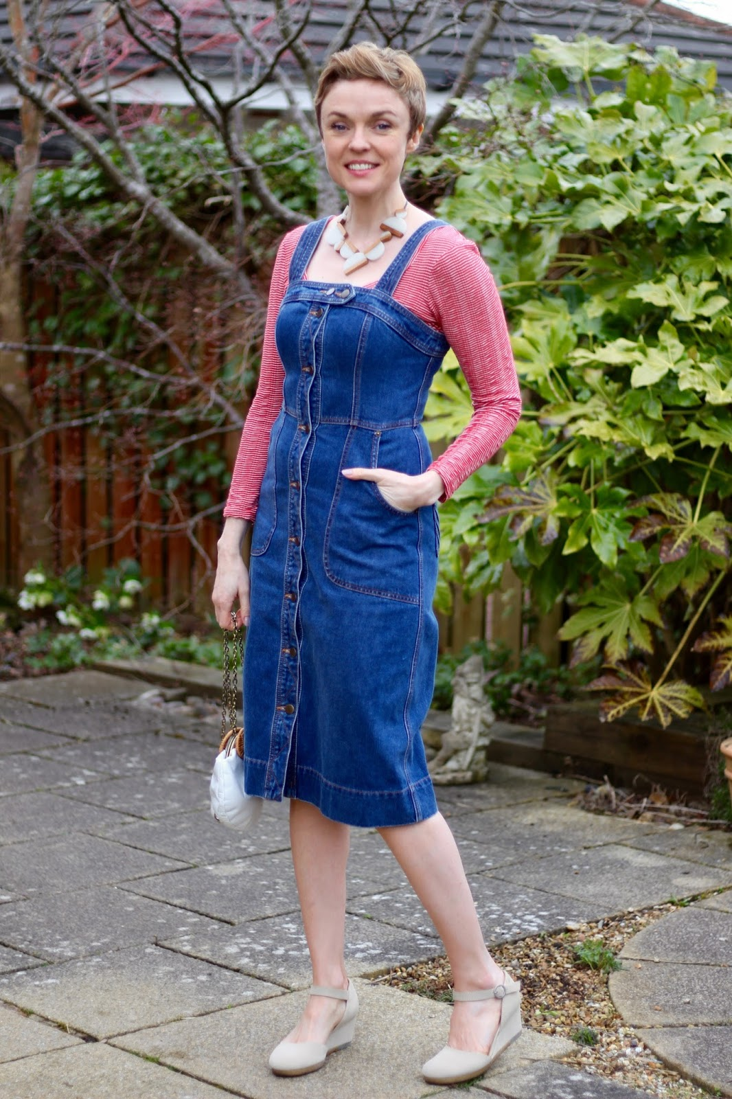 Denim Pinafore Dress & Red Stripes | Casual Style over 40 | Fake Fabulous