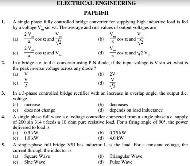 Electrical Engineering Paper 2 English Hindi Previous Question Paper