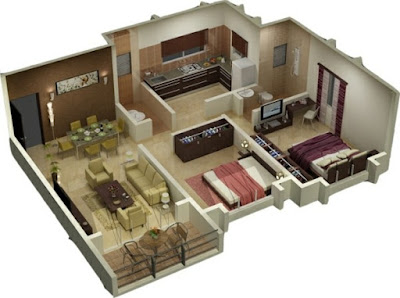 modern 3D house plans - two bedroom apartment design