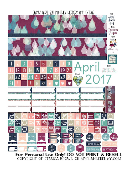 Free Printable Blank April 2017 Monthly Headers and Extras from myplannerenvy.com