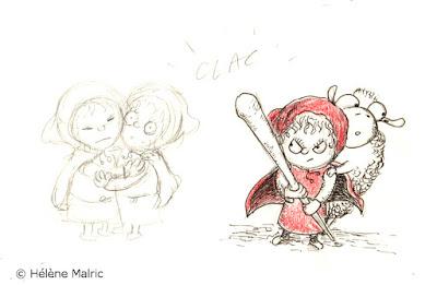 """illustration """"petit chaperon rouge"""" fâché  recherche de personnage character design"""
