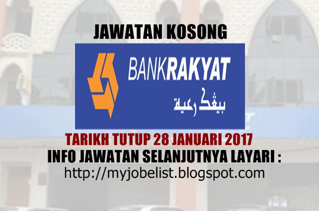 Jawatan Kosong Bank Kerjasama Rakyat Malaysia Berhad Januari 2017