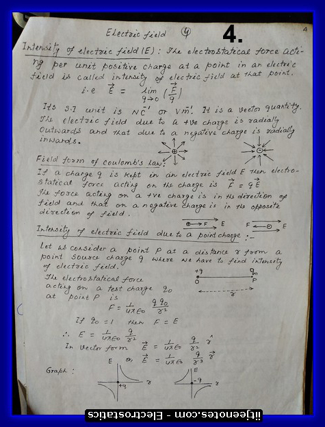 electrostatics notes physics class 12