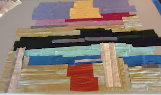 Background of the landscape art quilt