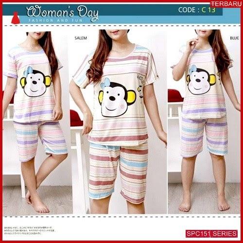 SPC151P61 Piyama Stripe Terbaru Monkey Baju Tidur Wanita | BMGShop