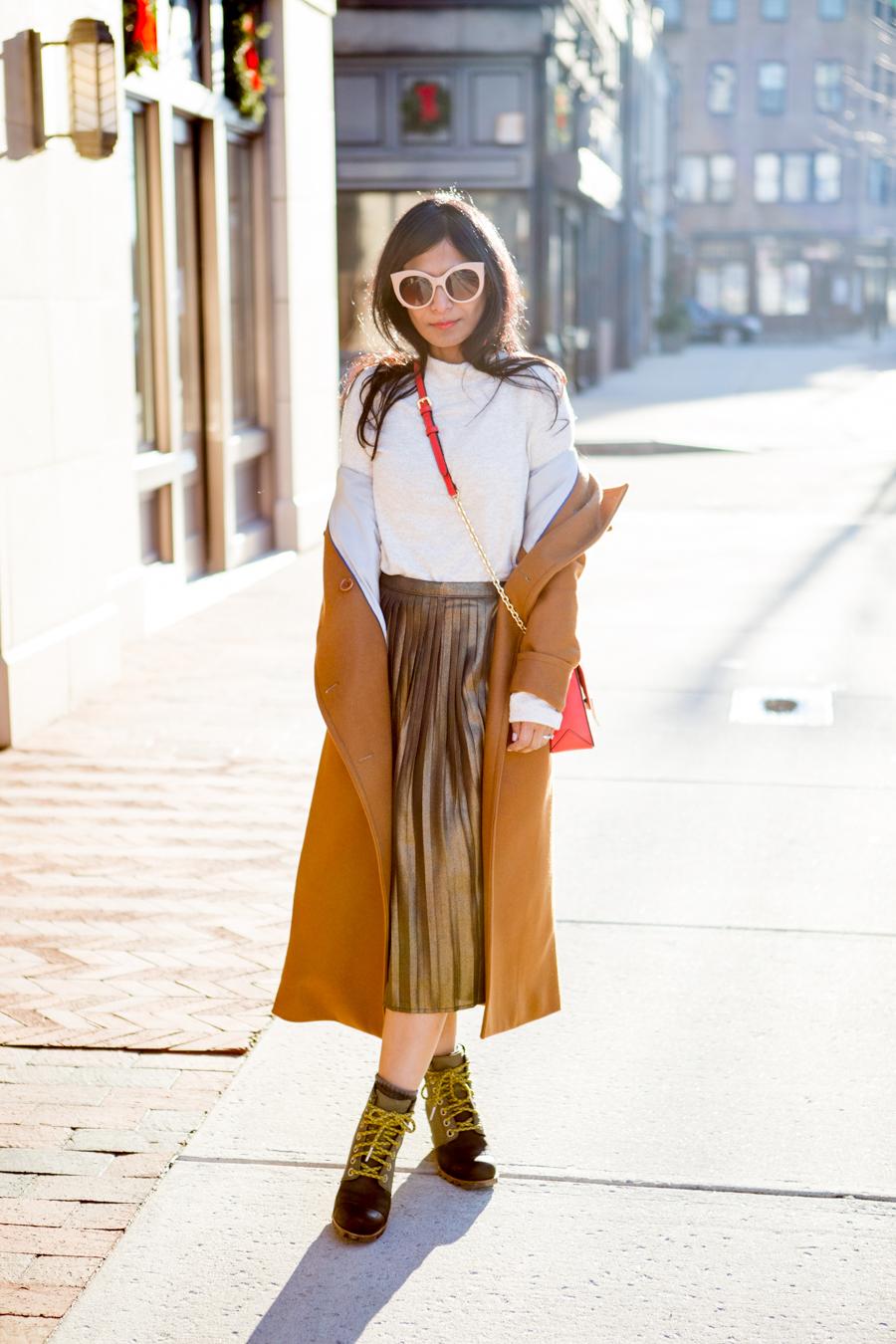 camel, winter wardrobe, winter fashion, petite style, sorel, jcrew, trouve, feminine style, cute winter boots, petite style, warm colors, petite blogger