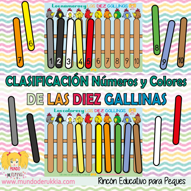 Juego de clasificación de colores y números de las Diez Gallinas