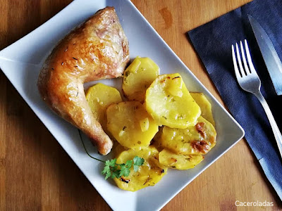 pollo asado con patatas a la importancia