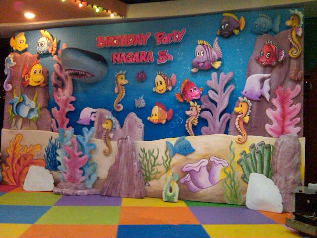 Dekorasi under the sea, dekorasi ultah, dekorasi styrofoam
