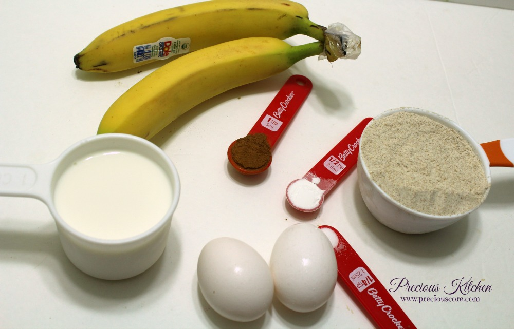 ingredients for whole wheat banana pancakes