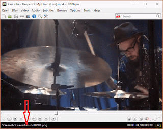 UMPlayer Screenshot Using Keyboard shortcut