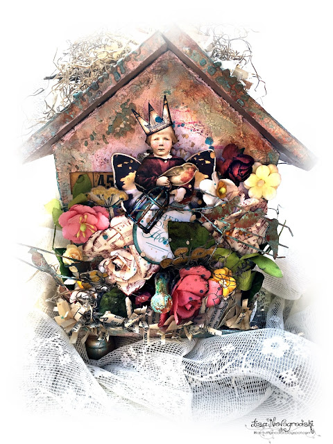 Altered Kaisercraft Birdhouse by Lisa Novogrodski for Scraps of Elegance using the May Mix'd Media Kit