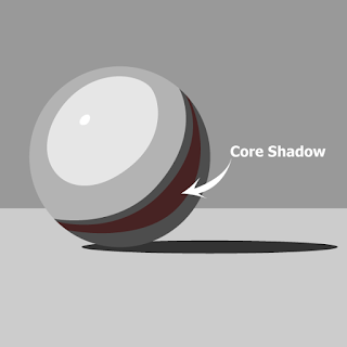 The core shadow is the darkest part of the form shadow.