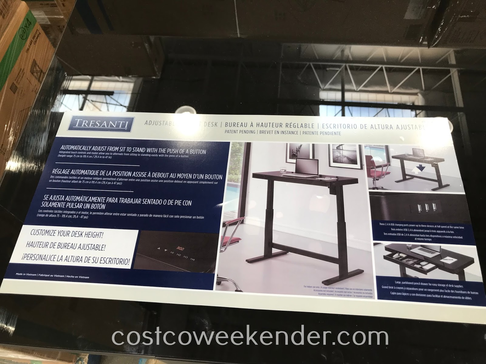 Costco 1334060 - Don't be sitting all day with the Tresanti Adjustable Height Desk