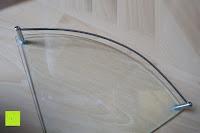 Stange am Glas: KROLLMANN hochwertige Eck Badablage mit Glasboden und Reling