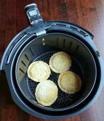air fryer basket is bread crumb coated ravioli
