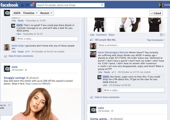 How ASOS handles complaints on Facebook?