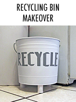 This pail gets transformed into a pretty recycling bin