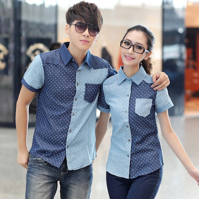 Model Kemeja Couple Motif Polkadot Korea Murah
