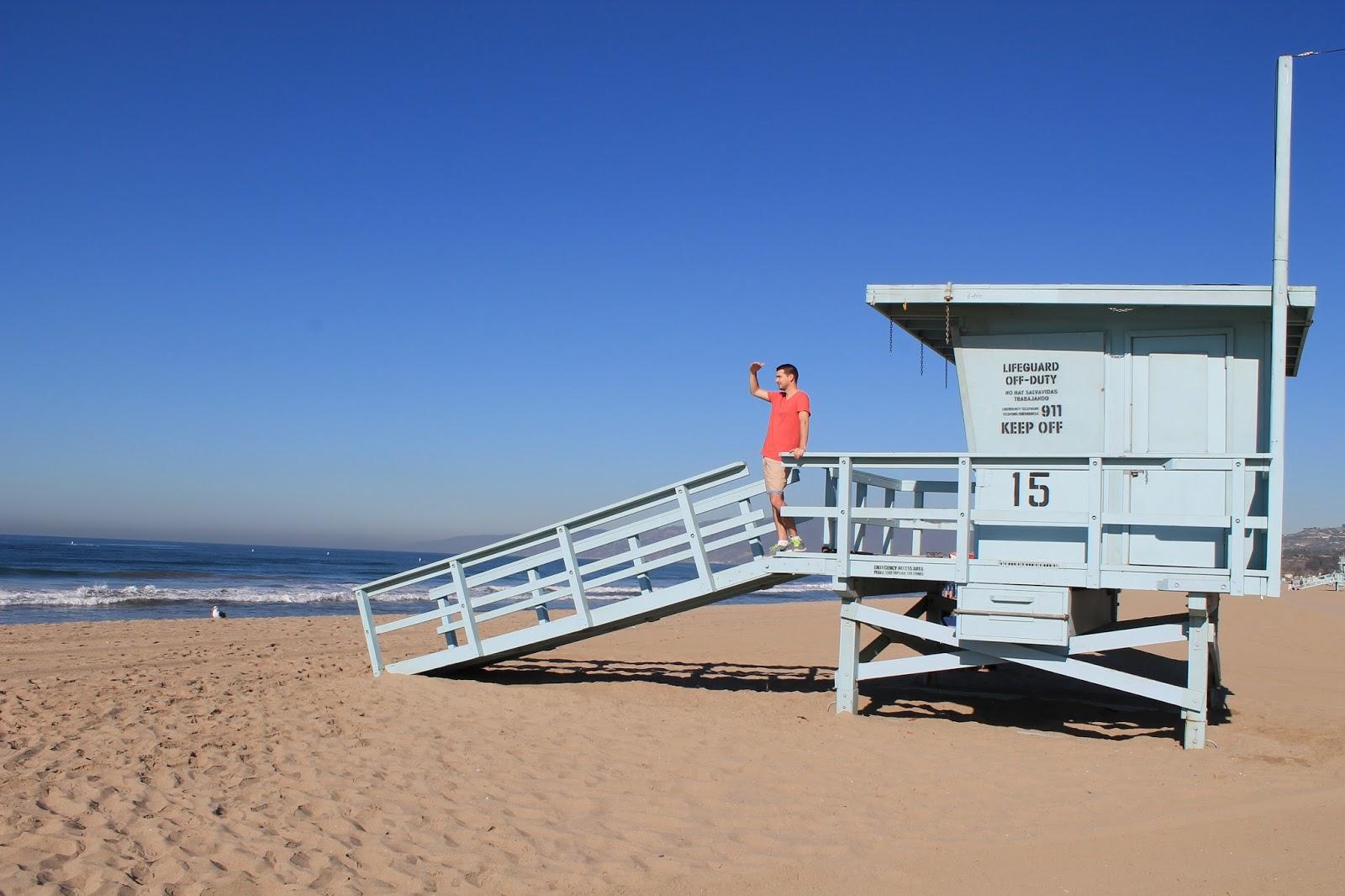 USA états unis amérique vacance transat roadtrip ouest américain santa monica plage poste de secours lifeguard