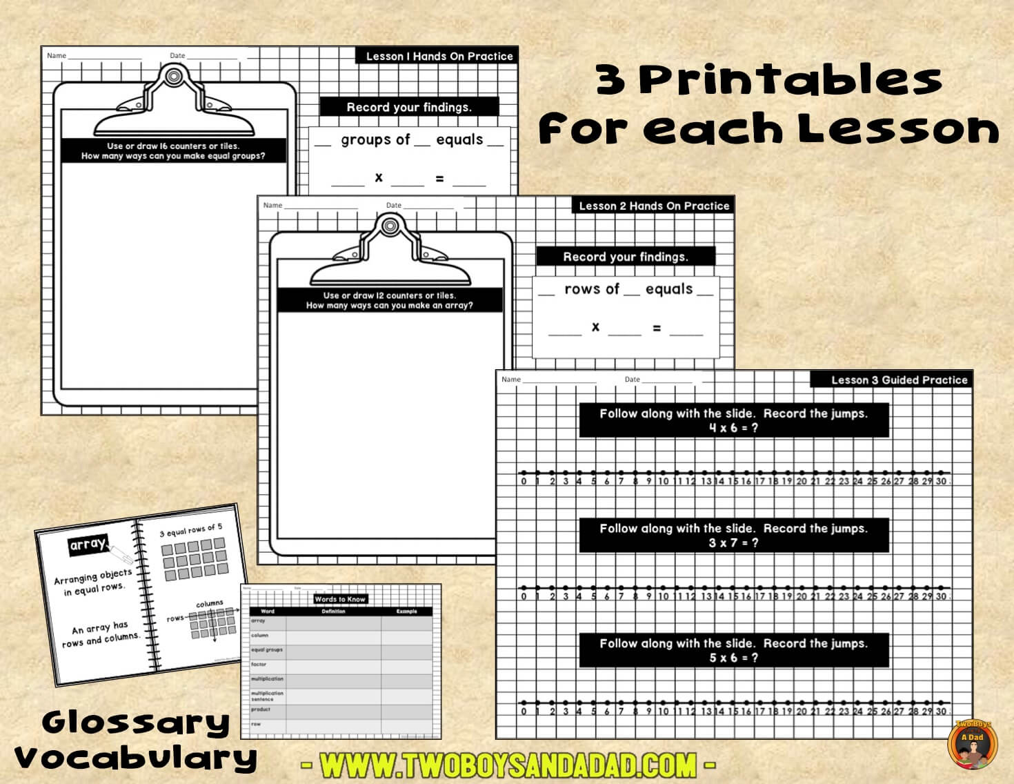 Printables to use with the multiplication PowerPoint