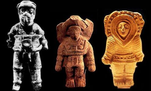 Ancient Astronauts in clay statues from around the ancient world.