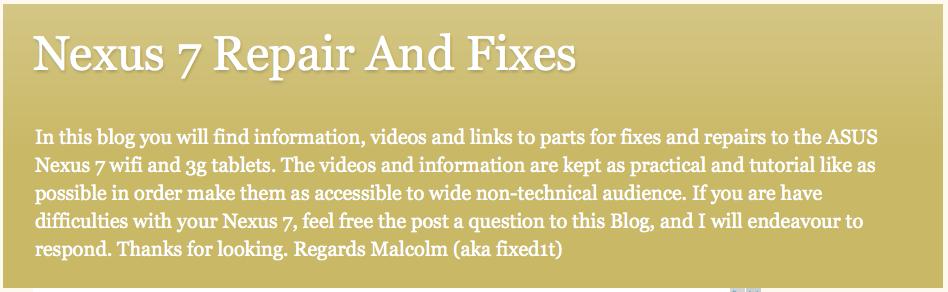 Nexus 7 Repairs And Fixes