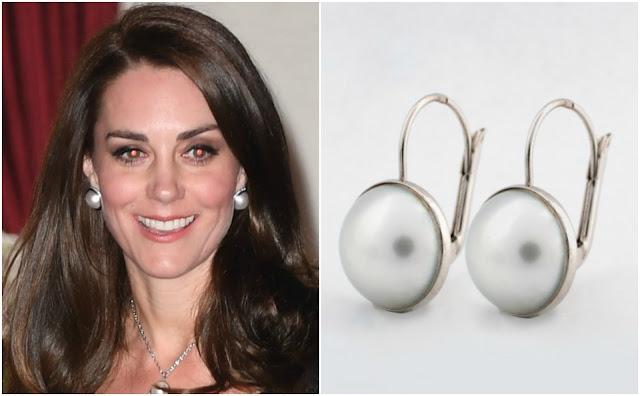 Kolczyki księżnej Kate z białego złota z perłami
