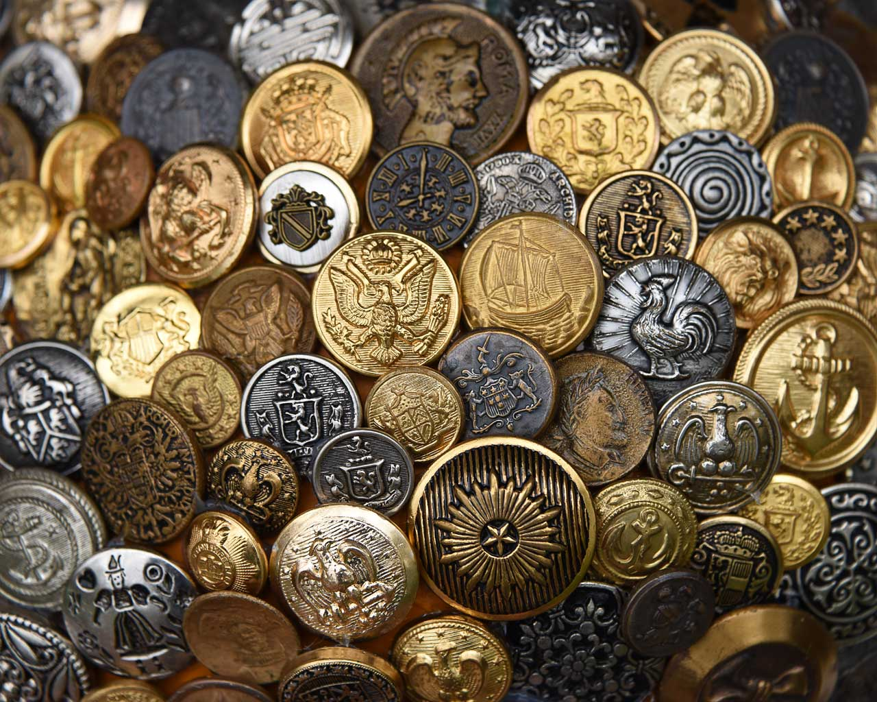 Metal Buttons closeup by Jeanne Selep