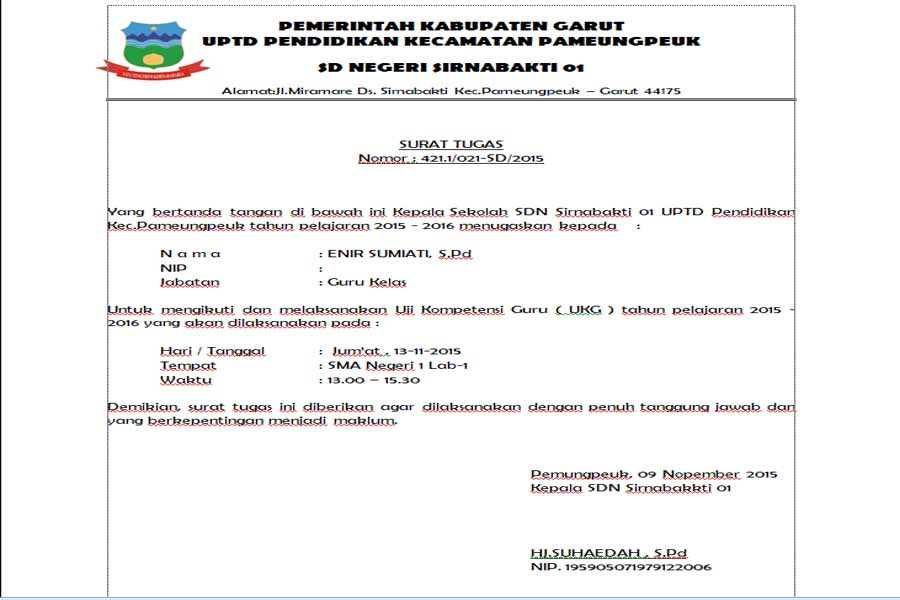 Free Download Rekomendasi Surat Tugas Ukg 2015 Docs