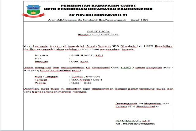 Unduh File Contoh Rekomendasi Surat Tugas UKG 2015