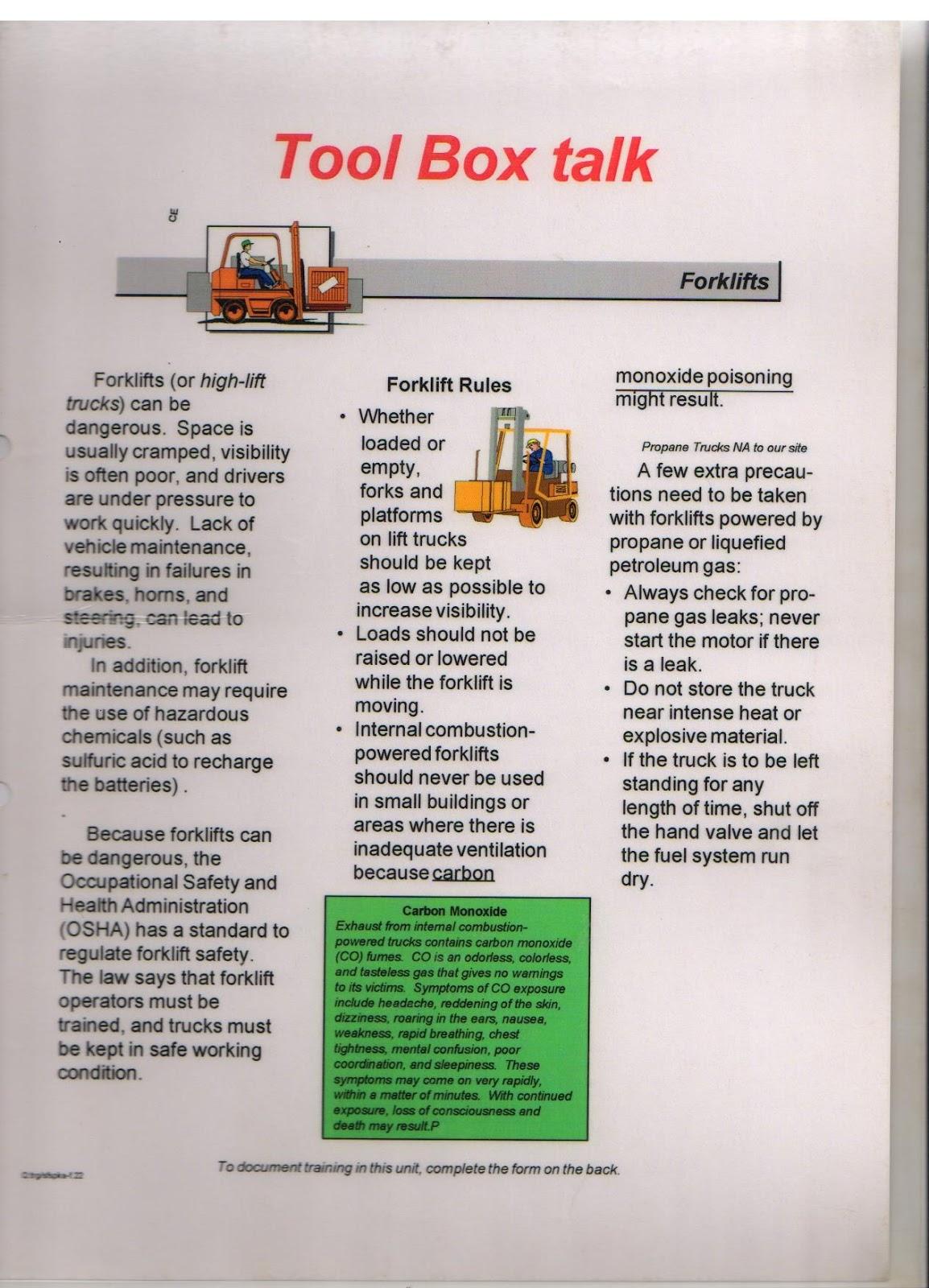 Construction Tool Box Talks