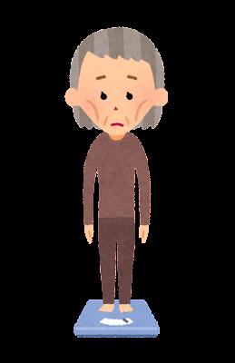体重計に乗る人のイラスト(おばあさん・痩身)