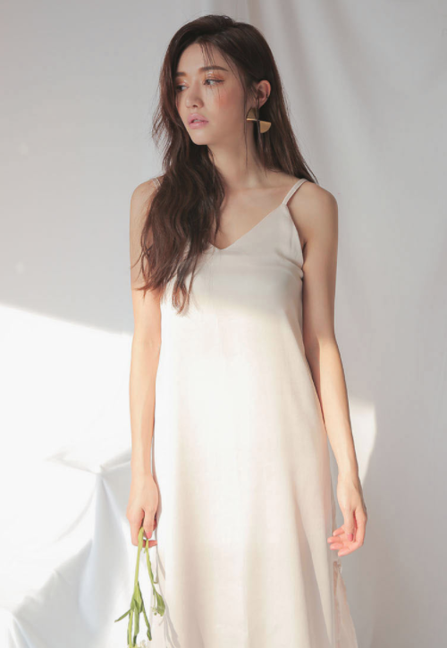 Single Tone Slit Hem Slip Dress