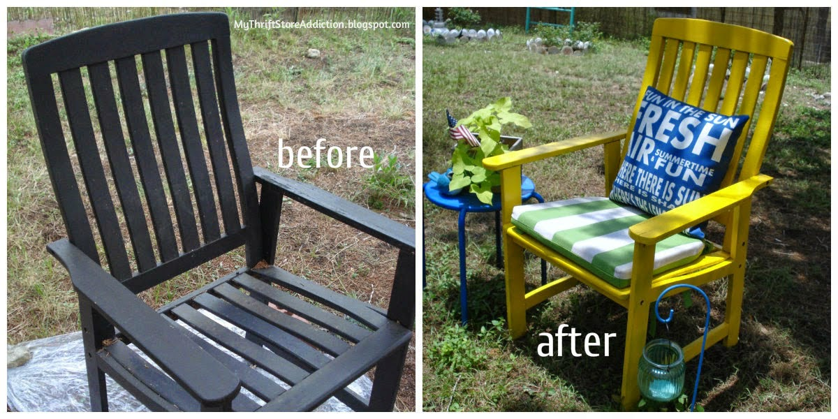 Upcycled spray painted patio chair