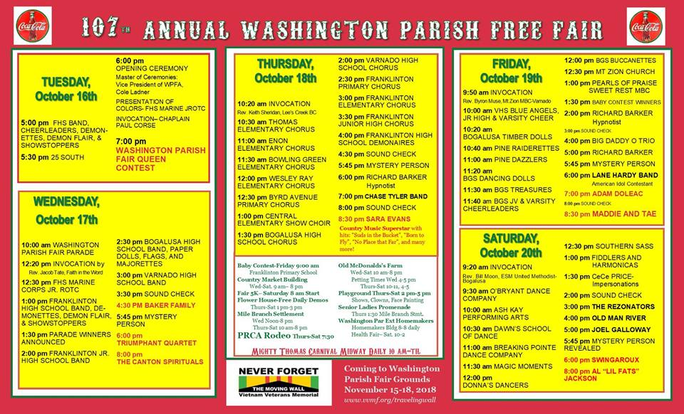 washington parish free fair 2018 stage schedule